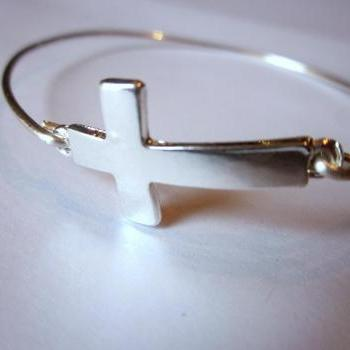 Silver Sideways Cross Bangle Bracelet Silver Charm Cross - Stackable Bangle Bracelet - Bridesmaid Gift