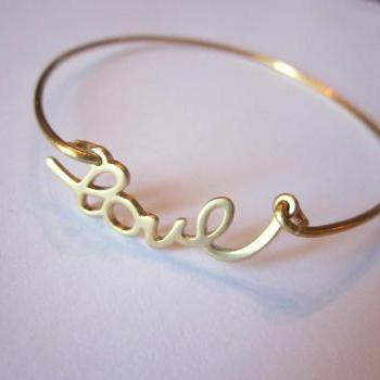 Gold Love Bangle Bracelet Gold Charm Script - Stackable Bangle Charm Bracelet - Bridesmaid Gift - Valentine's Day Jewelry